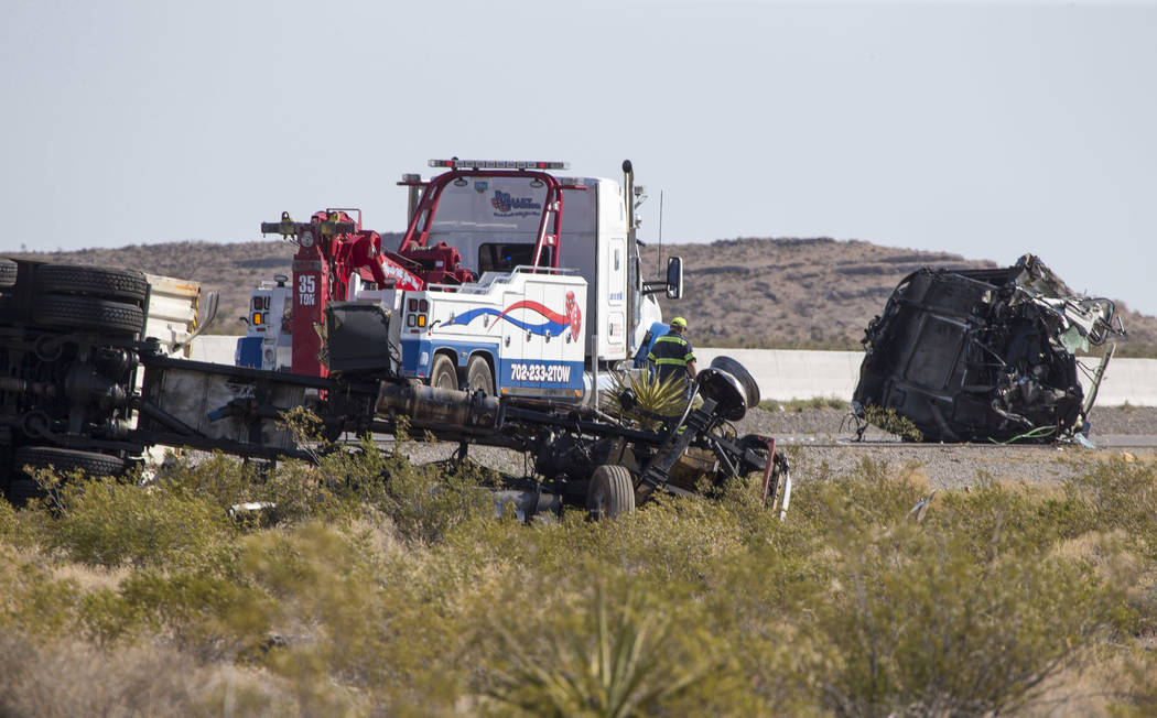 Two semitrailers were damaged in a crash that injured one woman on northbound Interstate 15 near Primm, Wednesday morning, June 21 2107. Northbound lanes are shut down. (Richard Brian/Las Vegas Re ...