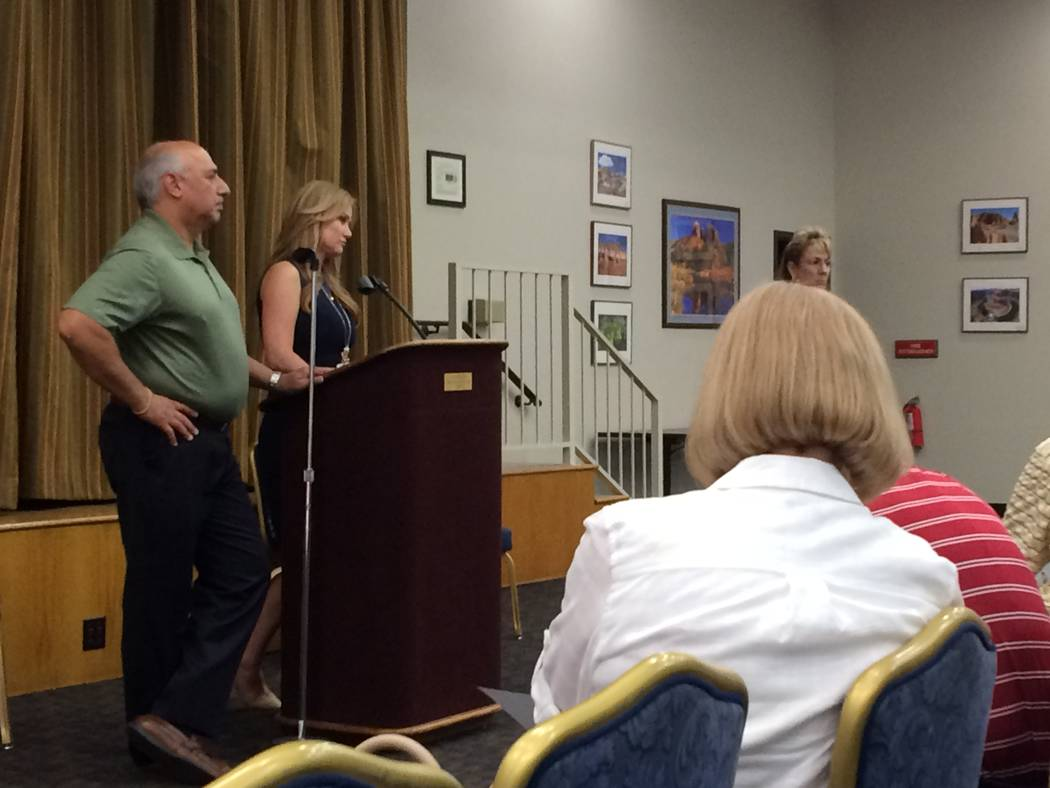 Sun City Summerlin residents listen as Stavros Anthony, city councilman, and  Gena Kendall, city traffic engineer, address them June 15, 2017 at a town hall meeting. Sun City residents had been co ...