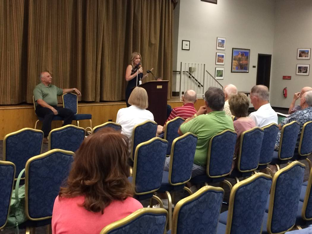Sun City Summerlin residents listen as Gena Kendall, city traffic engineer, speaks June 15, 2017 at a town hall meeting. Sun City residents had been complaining about excessive speeding on some st ...