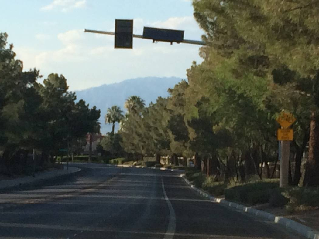A speed reader is seen June 2017 at Desert Shores. Sun City Summerlin will be getting some, too, after residents at the bottom of the slope complained of people doing 55 mph or better in the retir ...