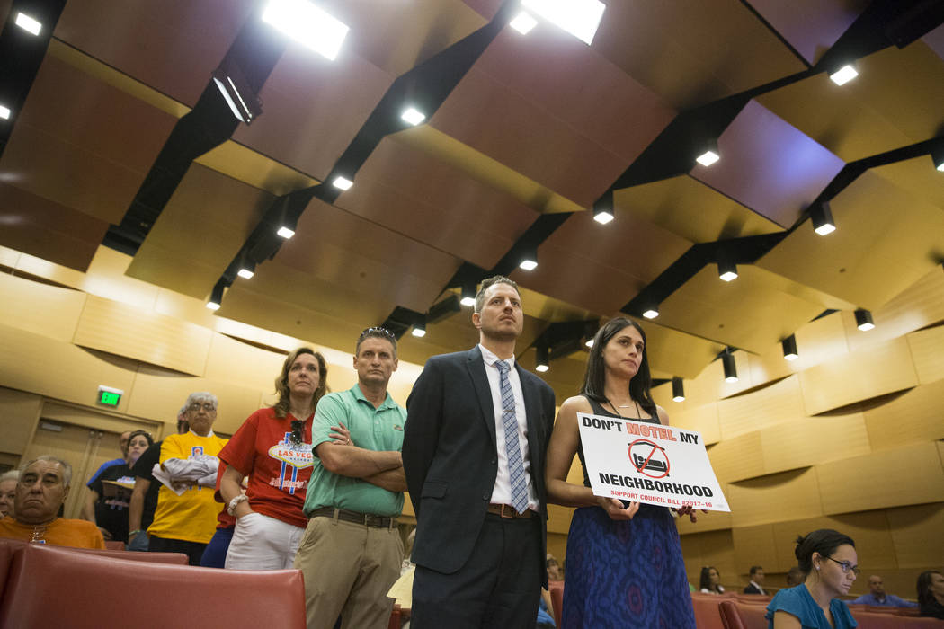 Local resident Alison Brasier, right, waits to speak during public comment regarding short-term rentals during a city council meeting at Las Vegas City Hall on Wednesday, June 21, 2017, in Las Veg ...