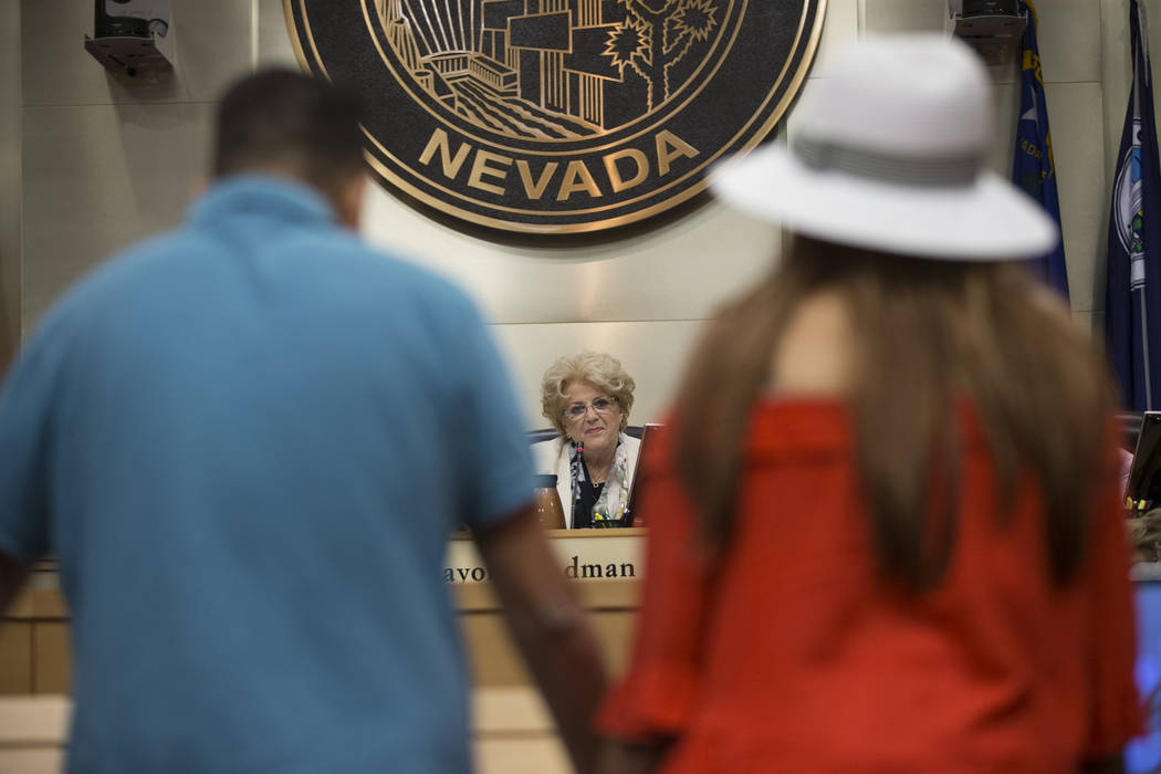 Mayor Carolyn Goodman during a city council meeting discussing short-term rentals at Las Vegas City Hall on Wednesday, June 21, 2017, in Las Vegas. Erik Verduzco/Las Vegas Review-Journal