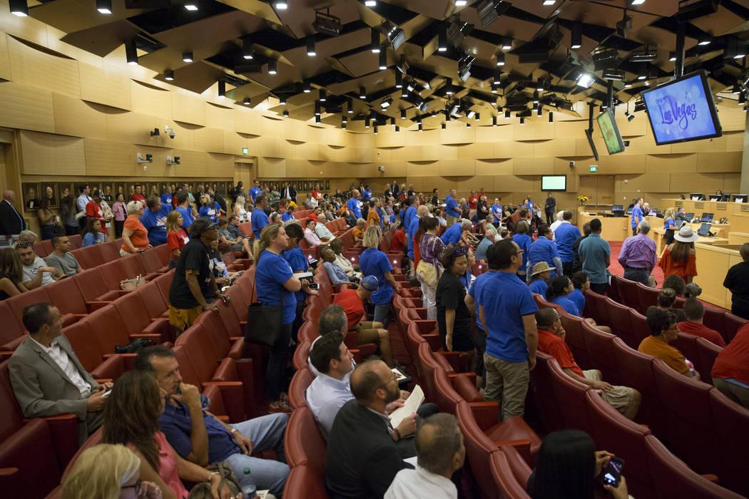 A city council meeting during a discussion of short-term rentals at Las Vegas City Hall on Wednesday, June 21, 2017, in Las Vegas. Erik Verduzco/Las Vegas Review-Journal