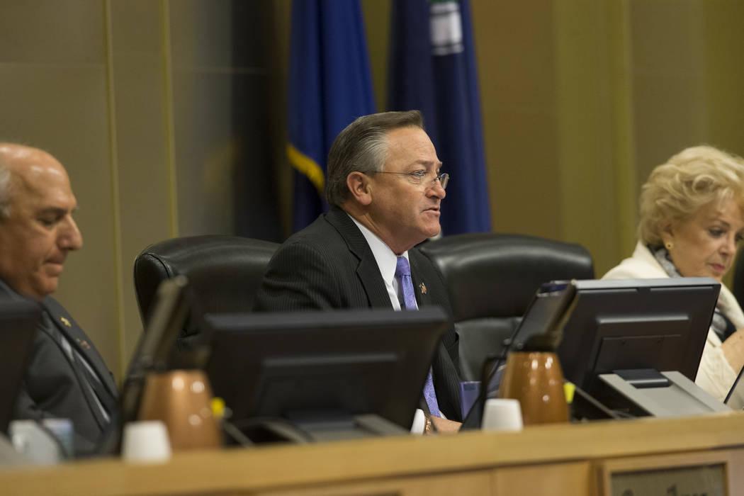 Councilman Steve Ross, center, during a city council meeting discussing short-term rentals at Las Vegas City Hall on Wednesday, June 21, 2017, in Las Vegas. Erik Verduzco/Las Vegas Review-Journal