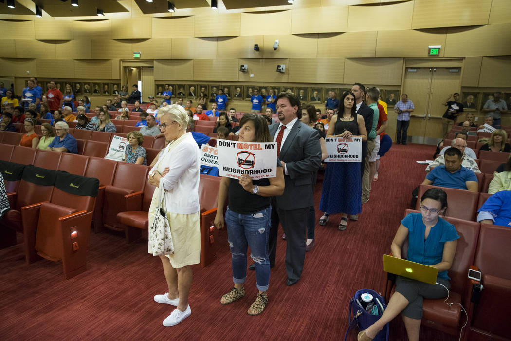 People line up to speak during public comment regarding short-term rentals in a city council meeting at Las Vegas City Hall on Wednesday, June 21, 2017, in Las Vegas. Erik Verduzco/Las Vegas Revie ...