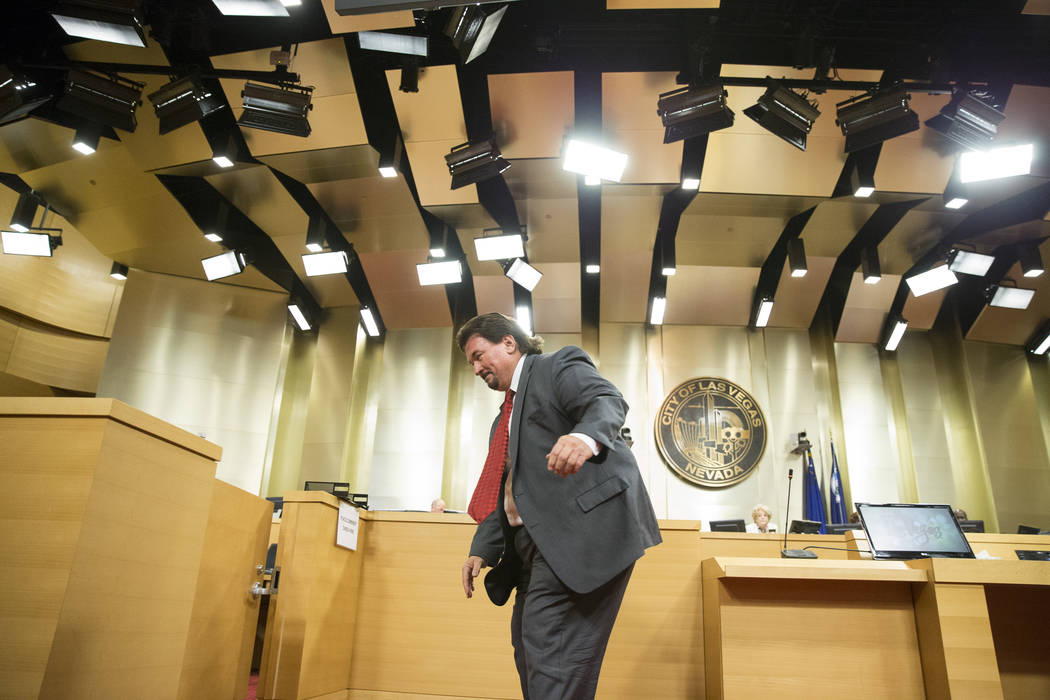 Michael McDonald, former member of the Las Vegas City Council, after speaking during public comment regarding short-term rentals in a city council meeting at Las Vegas City Hall on Wednesday, June ...