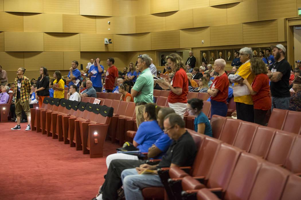 People line up to speak during public comment regarding short-term rentals in a city council meeting at Las Vegas City Hall on Wednesday, June 21, 2017, in Las Vegas. Erik Verduzco/Las Vegas Revie ...