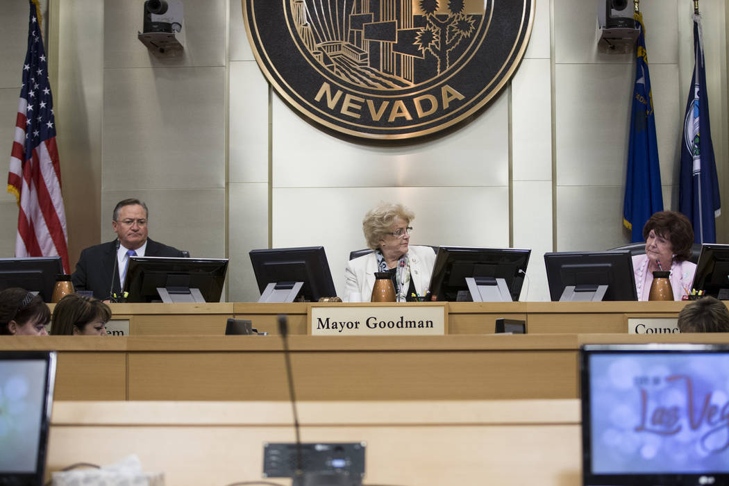 Councilman Steve Ross, from left, Mayor Carolyn Goodman, and Councilwoman Lois Tarkanian, during a city council meeting discussing short-term rentals at Las Vegas City Hall on Wednesday, June 21,  ...