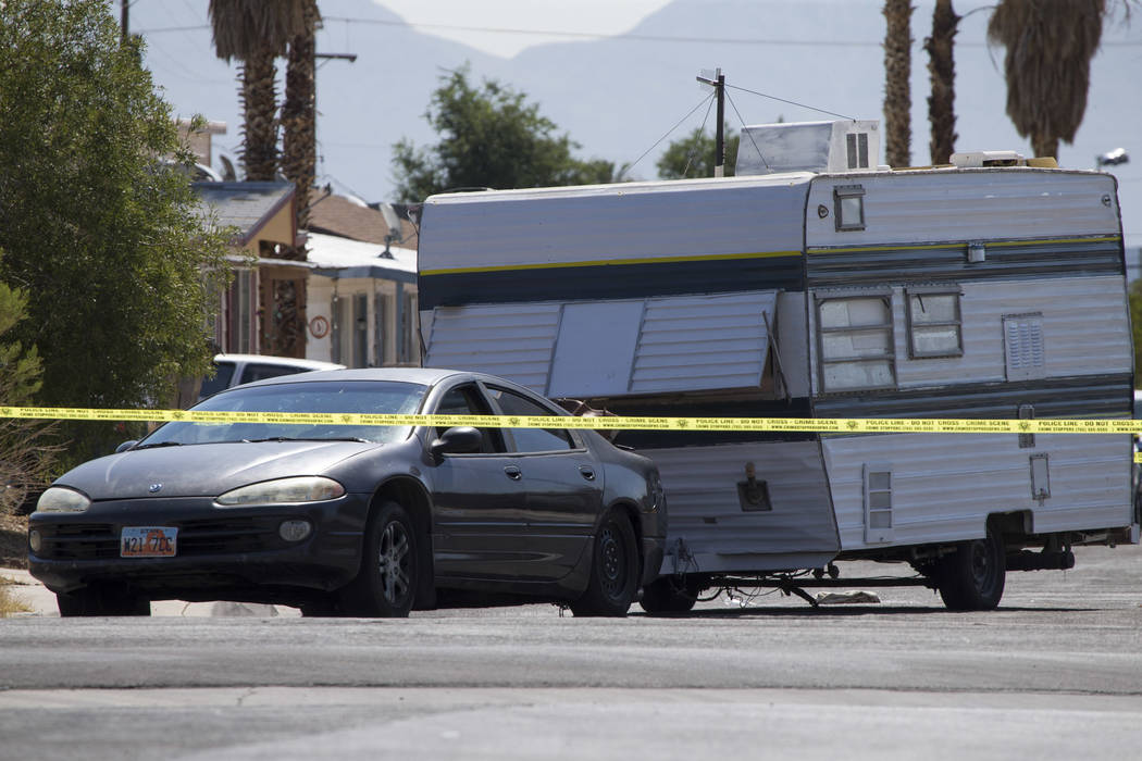 A vehicle towing a camping trailer was involved in a fatal incident in the 6500 block of Bourbon Way, near Torrey Pines and Alta drives, on Wednesday, June 20, 2017. A woman died after being run o ...