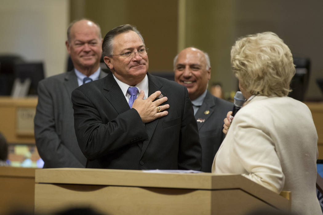 Las Vegas City Councilman Steve Ross, left, and Mayor Carolyn Goodman, during Ross's departure ceremony at Las Vegas City Hall on Wednesday, June 21, 2017. Erik Verduzco/Las Vegas Review-Journal
