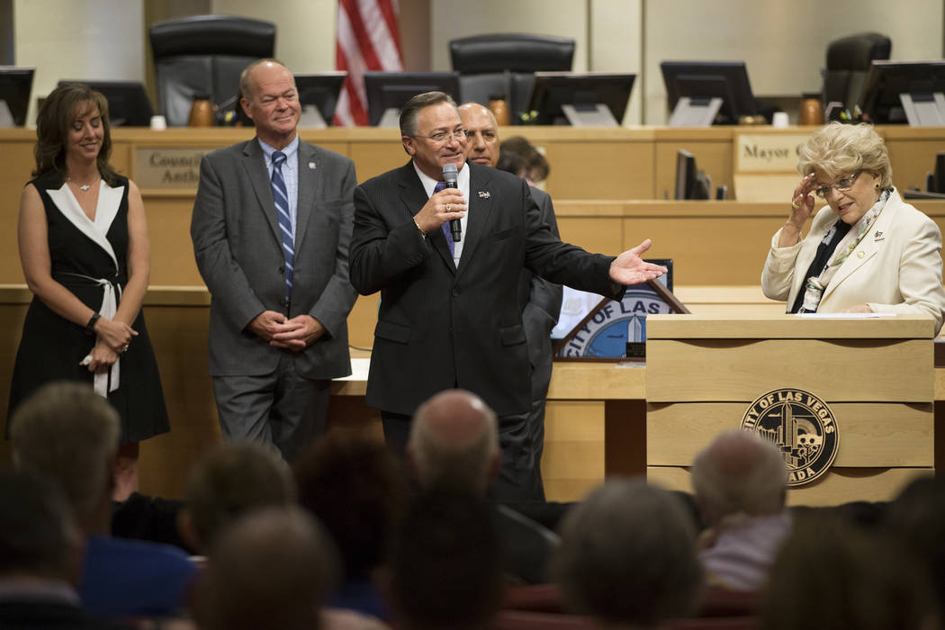 Las Vegas City Councilman Steve Ross, center, during his departure ceremony at Las Vegas City Hall on Wednesday, June 21, 2017. Erik Verduzco/Las Vegas Review-Journal