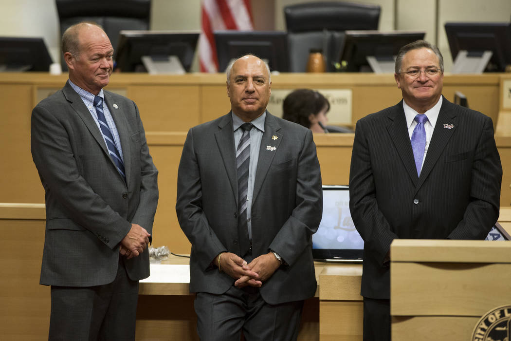 Las Vegas City Councilmen from left, Bob Beers, Stavros Anthony and Steve Ross, during a city council meeting at Las Vegas City Hall on Wednesday, June 21, 2017. Erik Verduzco/Las Vegas Review-Journal