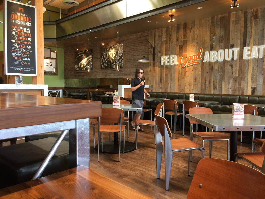 The interior of Sharkey's Woodfired Mexican Grill, Sharkey's, 8975 W. Charleston Blvd., seen June 2, 2017, and features wood and metal features. The brand has come to the Summerlin area after pr ...
