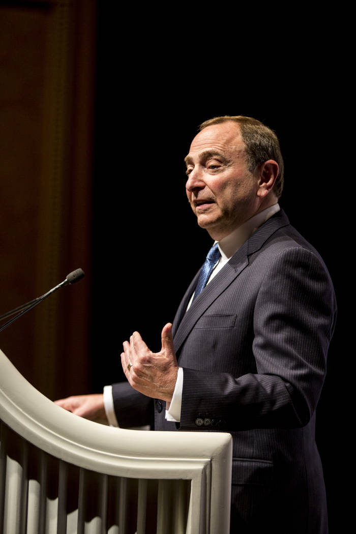 NHL commissioner Gary Bettman answers questions from the press after the NHL Board of Governors meeting at the Encore on Wednesday, June 21, 2017.  Patrick Connolly Las Vegas Review-Journal @PConnPie
