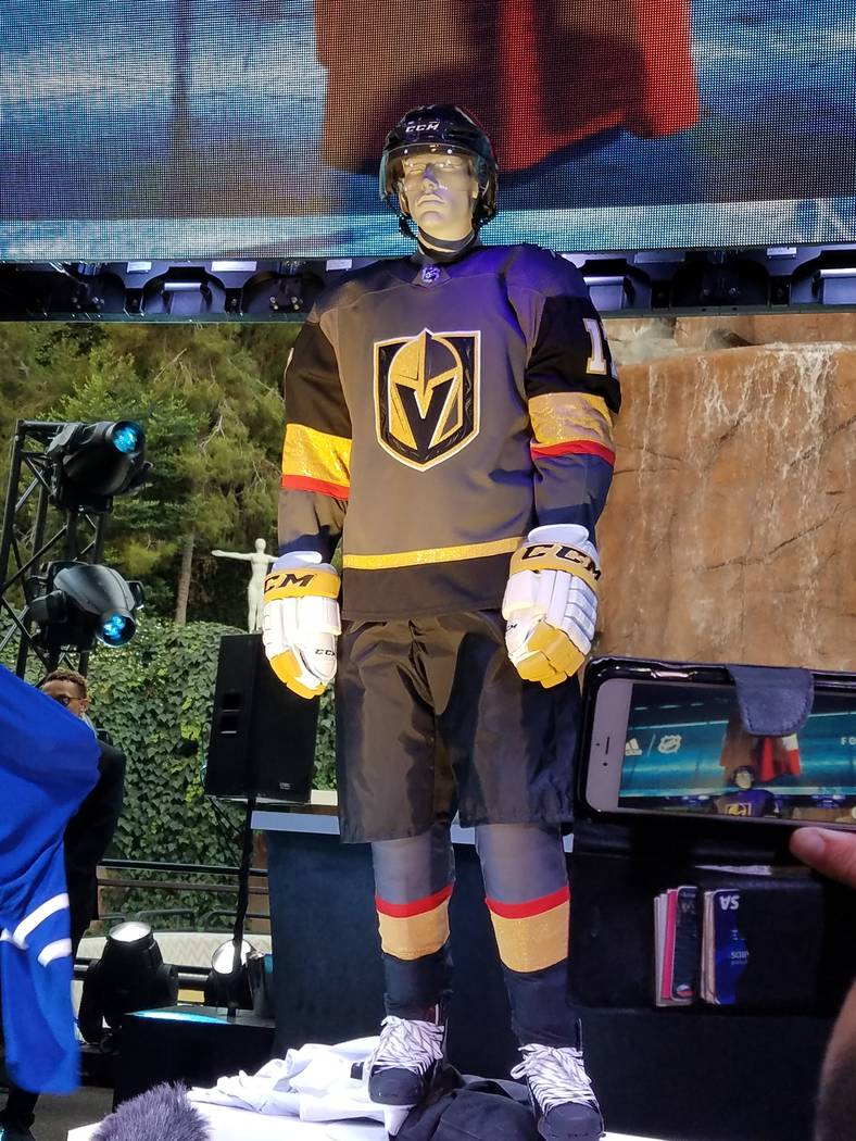 Last night (June 20) the new NHL-Adidas 31 team jerseys were shown for the first time at Steve Wynn's Intrigue nightclub along with the first-ever Golden Knights uniforms. (Tom Donoghue)