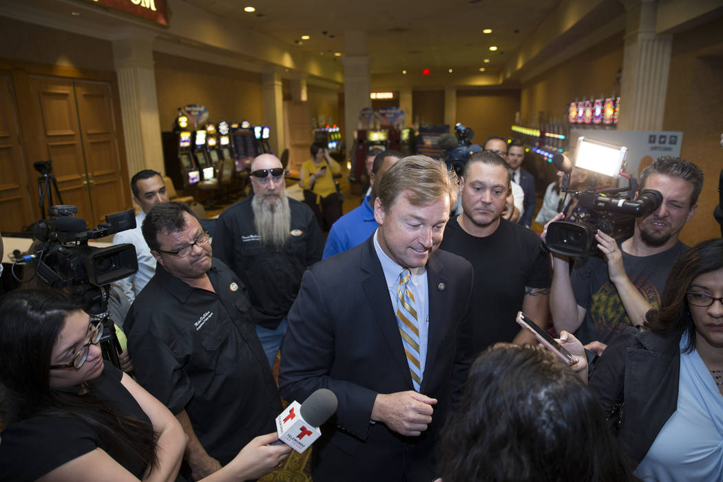 U.S. Sen. Dean Heller, R-Nev., during the Latin Chamber of Commerce monthly luncheon to discuss infrastructure projects at the Suncoast, May 12, 2017 in Las Vegas. (Erik Verduzco/Las Vegas Review- ...