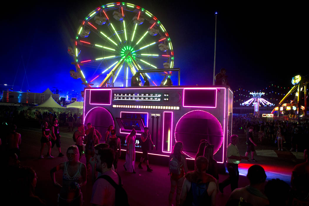 The Boombox art car makes its way through the festival grounds on the first night of Electric Daisy Carnival Las Vegas Motor Speedway on Friday, June 16, 2017 in Las Vegas. (Bridget Bennett/Las Ve ...
