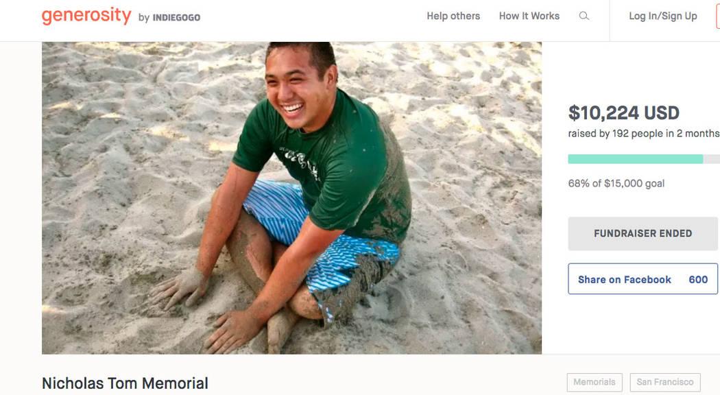 A screenshot of Nicholas Tom Memorial site from www.generosity.com