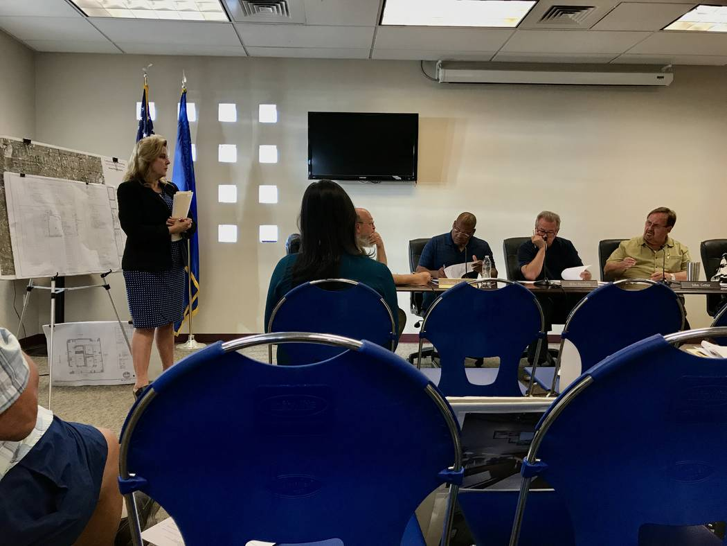 Land planning consultant and Green Ribbon panel member Lucy Stewart explained the impacts of three proposed retail marijuana locations to Spring Valley town advisory board members on June 13. (Mad ...