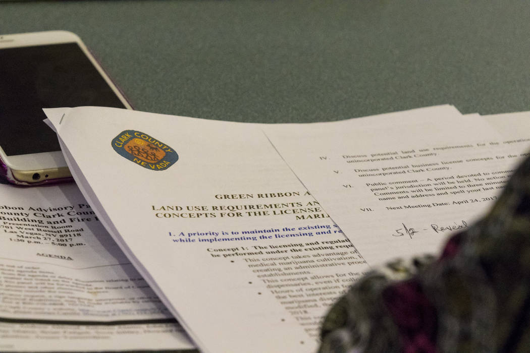 The agenda for a meeting for Clark Countyճ Green Ribbon Panel at the Clark County Department of Building and Fire Prevention in Las Vegas on Friday, April 7, 2017. Miranda Alam Las Vegas Rev ...