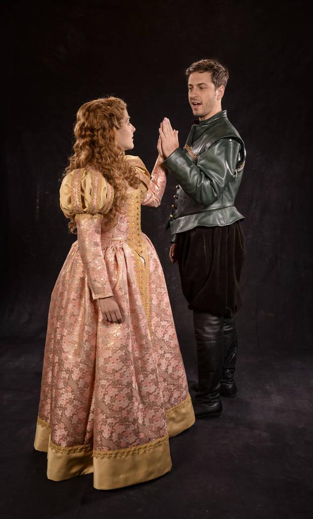 Betsy Mugavero (left) as Viola de Lesseps and Quinn Mattfeld as Will Shakespeare in the Utah Shakespeare Festival's 2017 production of Shakespeare in Love. (Photo by Karl Hugh. Copyright Utah Sh ...