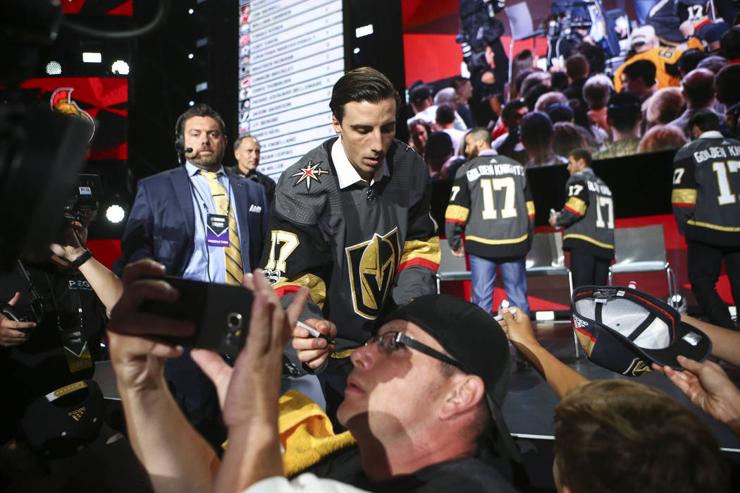 Vegas Golden Knights' Marc-Andre Fleury signs autographs following a roundtable after the NHL Awards and expansion draft at the T-Mobile Arena in Las Vegas on Wednesday, June 21, 2017. Chase Steve ...