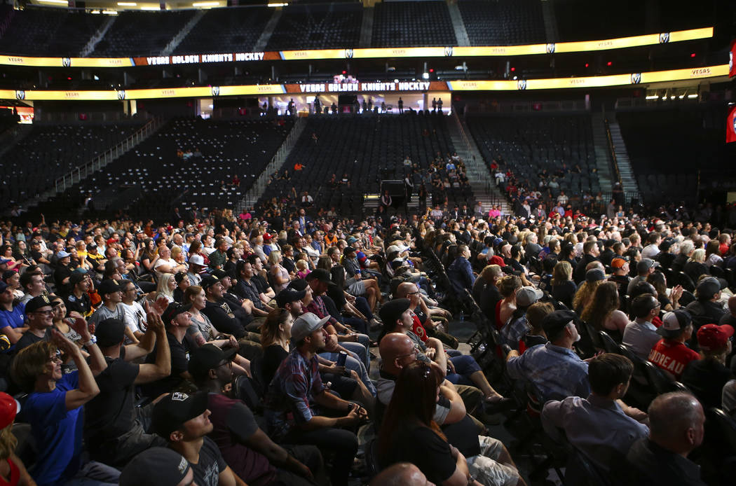 Fans enjoy a roundtable with Vegas Golden Knights players following the NHL Awards and expansion draft at the T-Mobile Arena in Las Vegas on Wednesday, June 21, 2017. Chase Stevens Las Vegas Revie ...