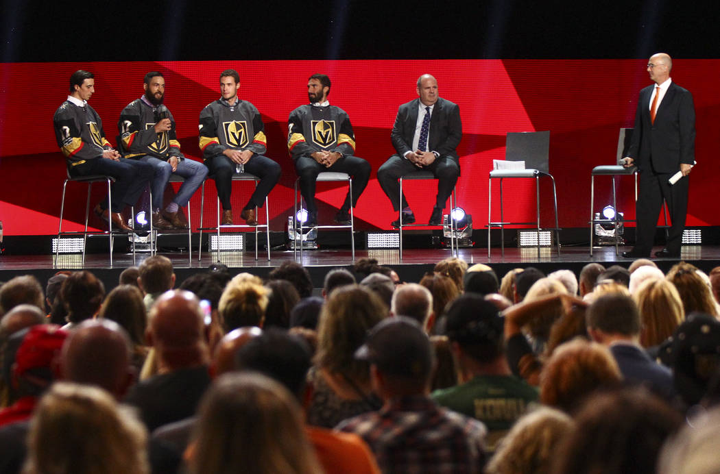 Vegas Golden Knights' Marc-Andre Fleury, from left, Deryk Engelland, Brayden McNabb and Jason Garrison during a roundtable following the NHL Awards and expansion draft at the T-Mobile Arena in Las ...