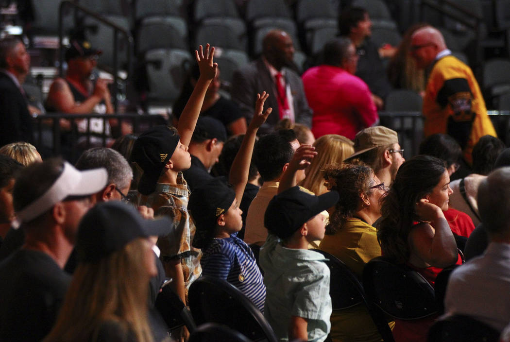 Young fans raise their hands to ask a question during a roundtable with Vegas Golden Knights players following the NHL Awards and expansion draft at the T-Mobile Arena in Las Vegas on Wednesday, J ...