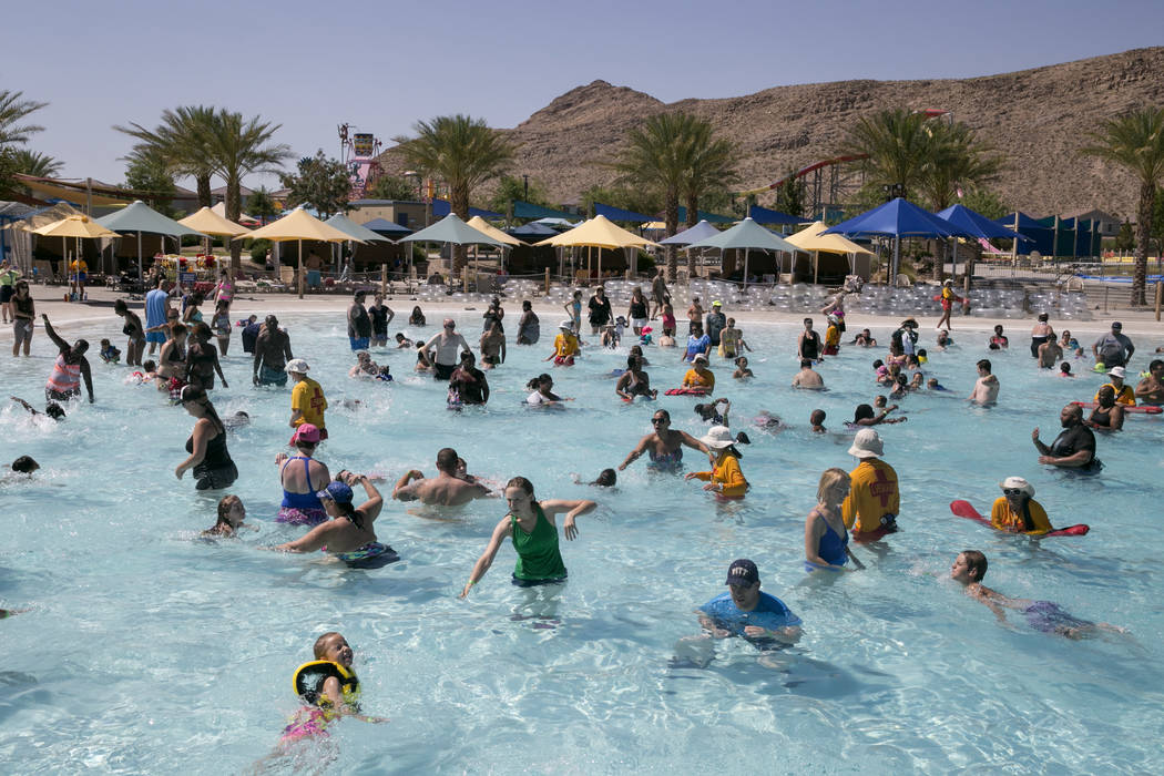 Friends and Families attempt to break the world record for largest swimming lesson at Wet 'n' Wild Las Vegas, Thursday, June 22, 2017. The event was an effort to raise awareness for water safety a ...