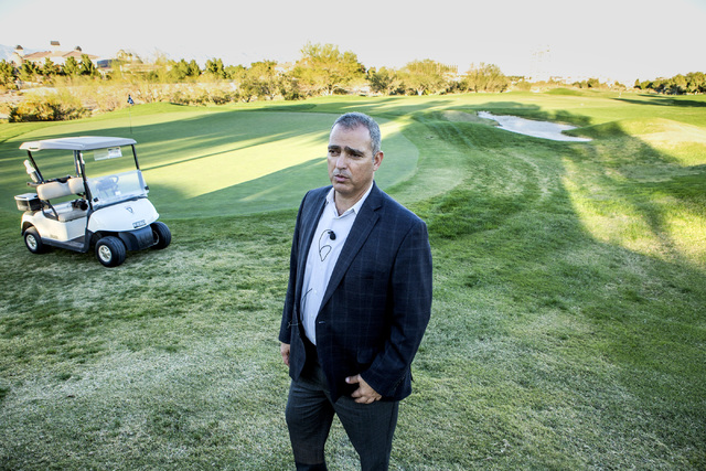 Yohan Lowie, CEO & founder of EHB Companies, views the landscape at Badlands Golf Course on Wednesday, Oct. 9, 2016. EHB Companies are planning on building the controversial, high-density deve ...