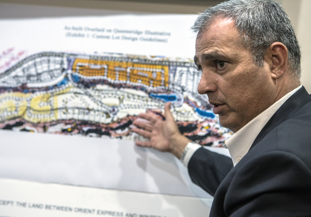 Developer Yohan Lowie with EHB Cos. discusses his proposed large-scale and controversial development for the Badlands Golf Course in his office on Friday, Oct. 21, 2016. Jeff Scheid/Las Vegas Revi ...