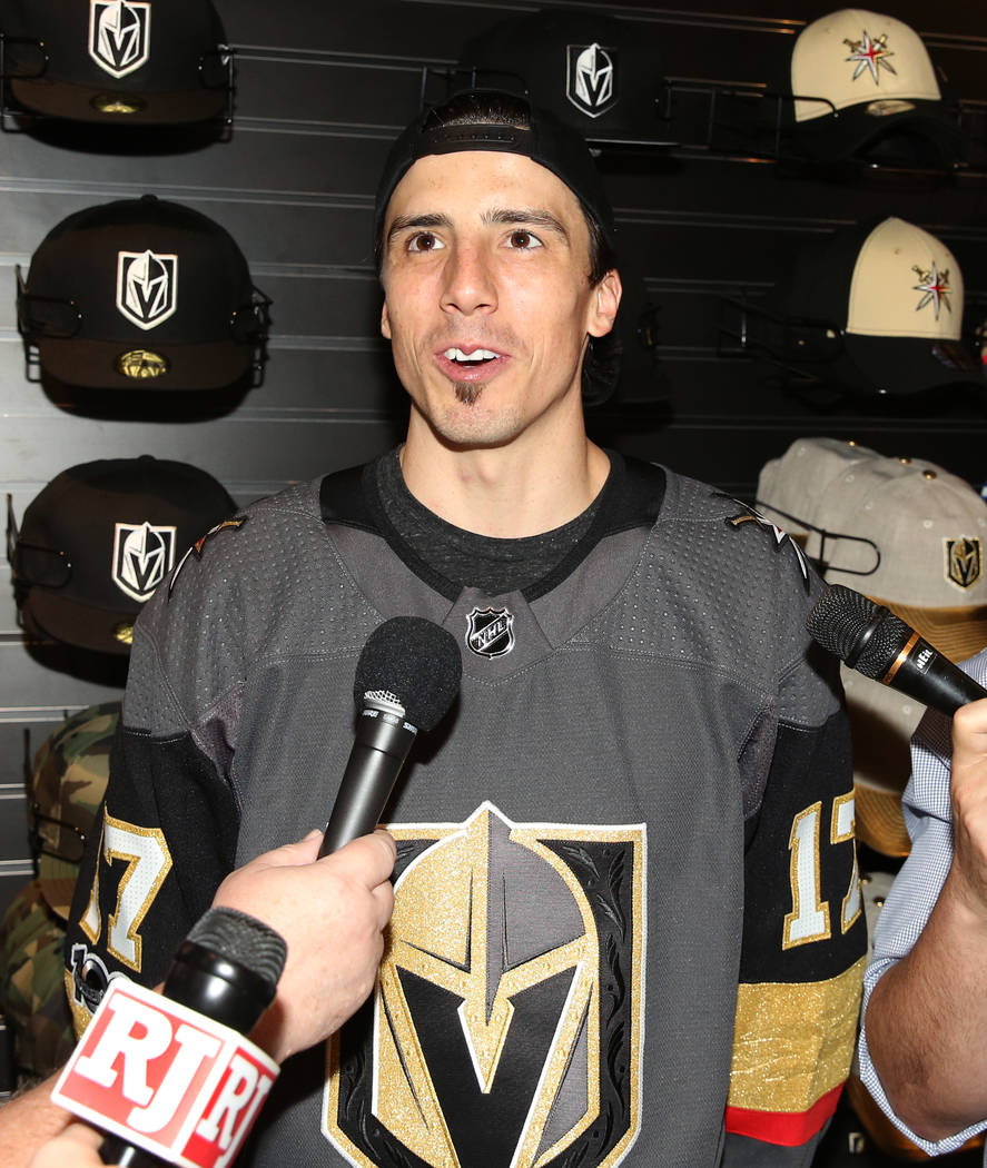 Vegas Golden Knights' Marc-Andre Fleury speaks to reporters during media availability at T-Mobile Arena on Thursday, June 22, 2017, in Las Vegas. Bizuayehu Tesfaye Las Vegas Review-Journal @bizute ...