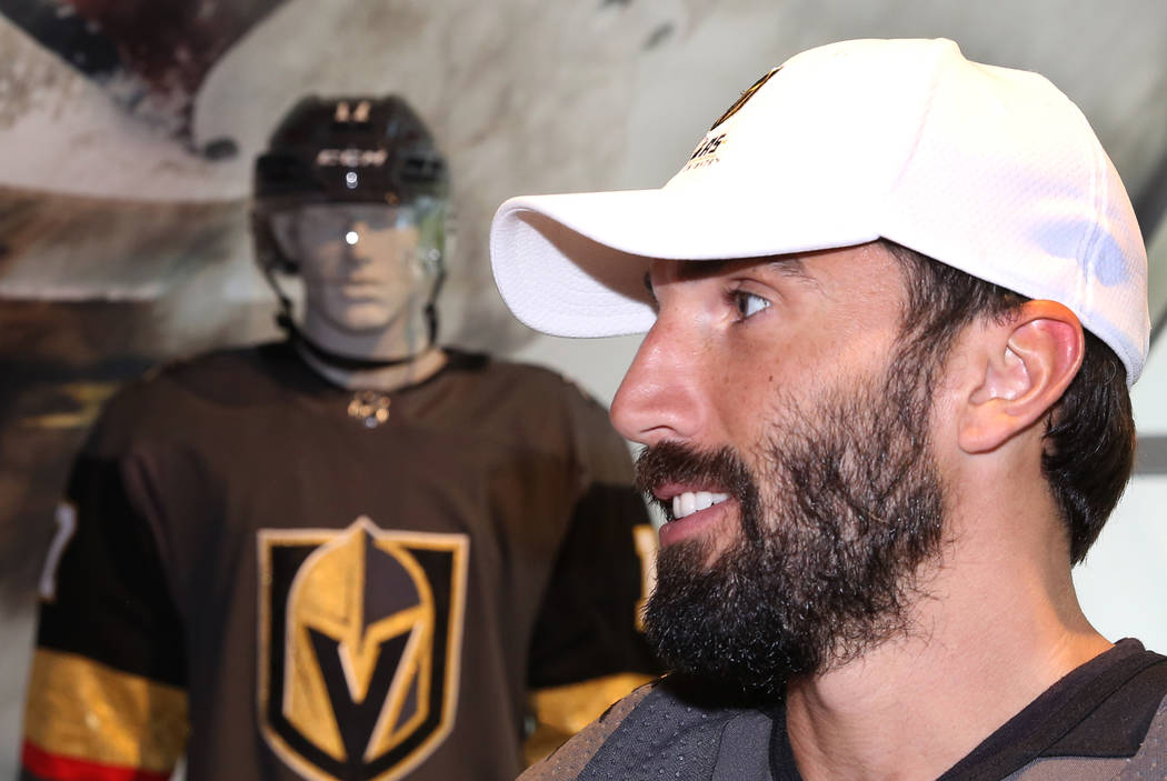 Vegas Golden Knights' Jason Garrison speaks to reporters during media availability at T-Mobile Arena on Thursday, June 22, 2017, in Las Vegas. Bizuayehu Tesfaye Las Vegas Review-Journal @bizutesfaye