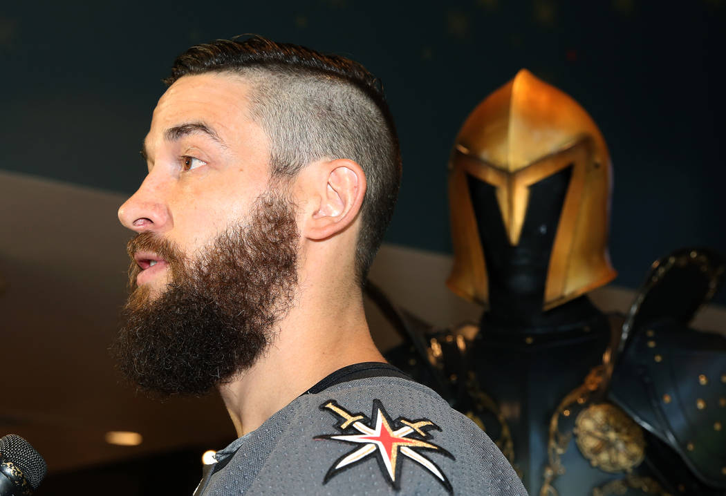 Vegas Golden Knights' Deryk Engelland speaks to reporters during media availability at T-Mobile Arena on Thursday, June 22, 2017, in Las Vegas. Bizuayehu Tesfaye Las Vegas Review-Journal @bizutesfaye