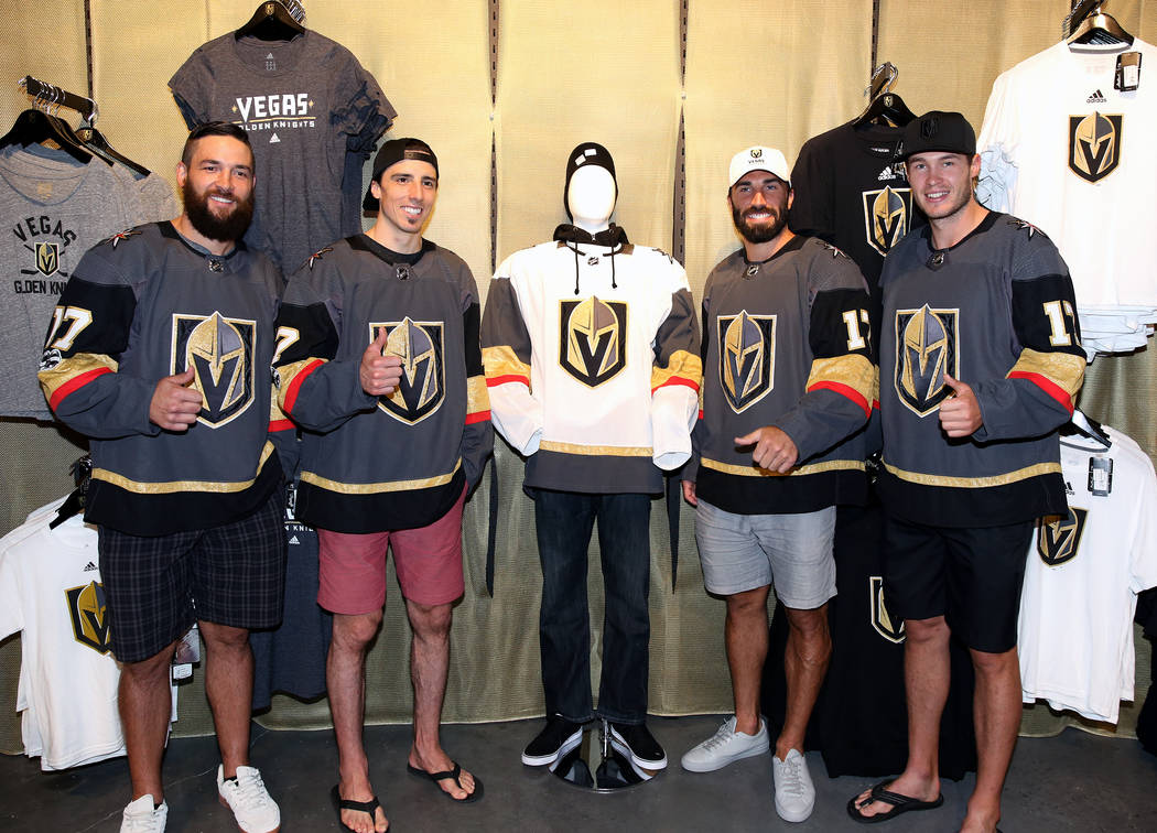 Vegas Golden Knights' Deryk Engelland, left, Marc-Andre Fleury, Jason Garrison, and Brayden McNabb, right,     during media availability at T-Mobile Arena on Thursday, June 22, 2017, in Las Vegas. ...