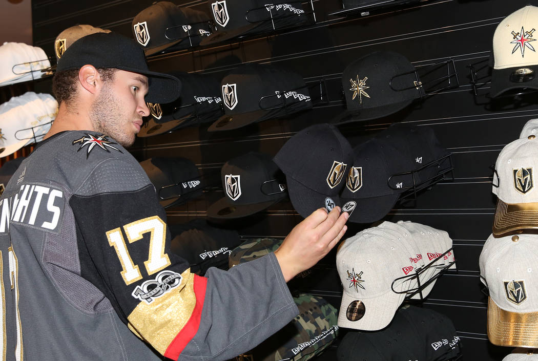 Vegas Golden Knights' Brayden McNabb checks out hats at The Armory, Golden Knight team store, at T-Mobile Arena on Thursday, June 22, 2017, in Las Vegas. Bizuayehu Tesfaye Las Vegas Review-Journal ...