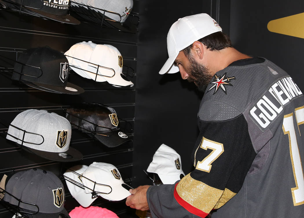 Vegas Golden Knights' Jason Garrison checks out hats at The Armory, Golden Knight team store, at T-Mobile Arena on Thursday, June 22, 2017, in Las Vegas. Bizuayehu Tesfaye Las Vegas Review-Journal ...