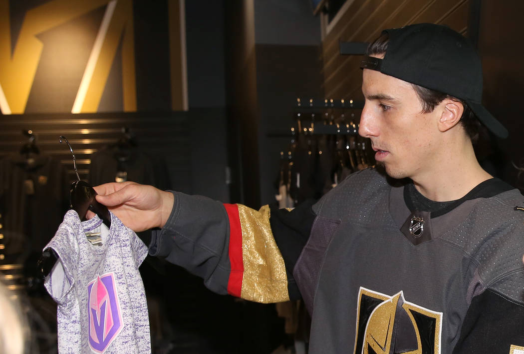 Vegas Golden Knights' Marc-Andre Fleury checks out a T-shirt for his daughter at The Armory, the Golden Knight team store, at T-Mobile Arena on Thursday, June 22, 2017, in Las Vegas. Bizuayehu Tes ...
