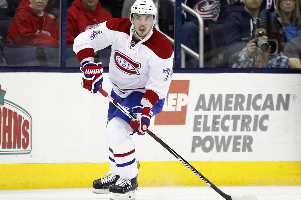 Montreal Canadiens defenseman Alexei Emelin, of Russia, is seen against the Columbus Blue Jackets during an NHL hockey game in Columbus, Ohio, Saturday, Nov. 4, 2016. The Blue Jackets won 10-0. (A ...