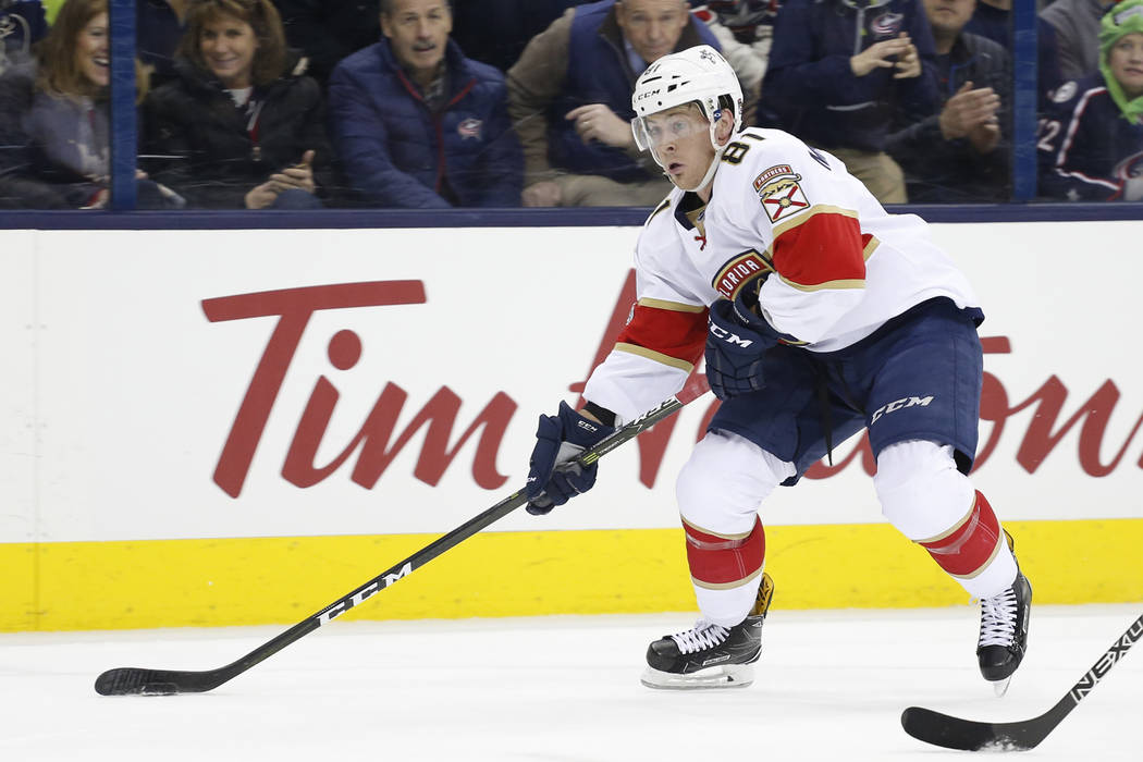 FILE - In this March 16, 2017, file photo, Florida Panthers' Jonathan Marchessault plays against the Columbus Blue Jackets during an NHL hockey game in Columbus, Ohio. The Vegas Golden Knights pic ...