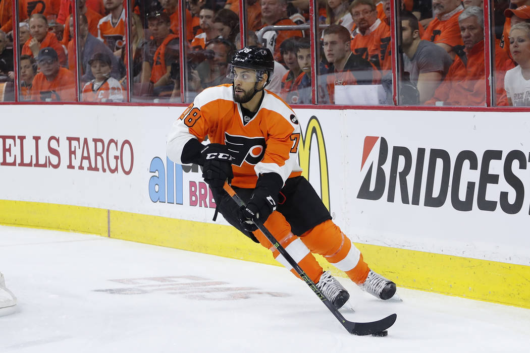 Philadelphia Flyers' Pierre-Edouard Bellemare in action during Game 3 in the first round of the NHL Stanley Cup hockey playoffs against the Washington Capitals, Monday, April 18, 2016, in Philadel ...