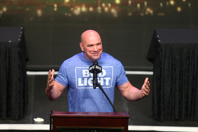 UFC President Dana White speaks during a press conference ahead of UFC 200 at the MGM Grand hotel-casino in Las Vegas on Friday, April 22, 2016. )Chase Stevens/Las Vegas Review-Journal) Follow @cs ...