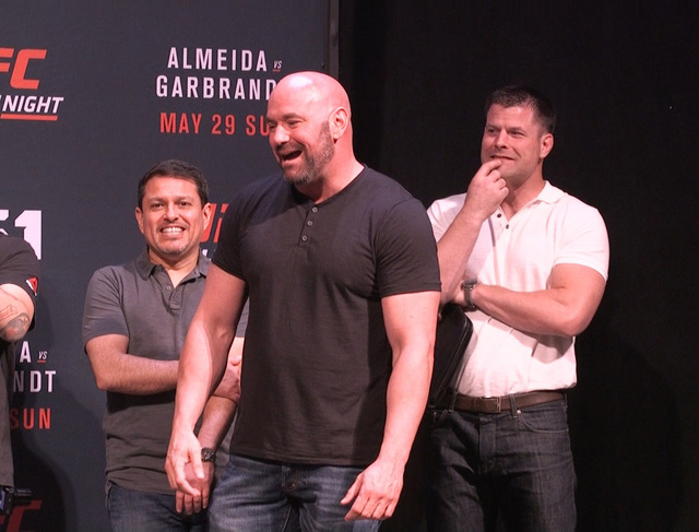 UFC matchmaker Joe Silva (left), UFC president Dana White (center), and color analyst Brian Stann (right), enjoy a laugh at the UFC Fight Night 88 weigh-ins. (Heidi Fang/Las Vegas Review-Journal)  ...