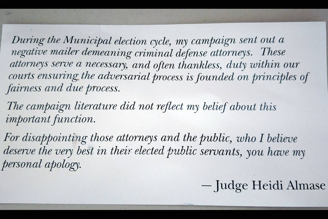 The back of a mailer that Las Vegas judge Heidi Almase sent out this week apologizing for a negative flyer her campaign sent out criticizing criminal defense attorneys while she was running for re ...