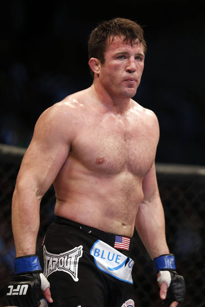FILE - In this Aug. 17, 2013, file photo, Chael Sonnen looks on after his win against Mauricio 'Shogun' Rua, of Brazil, in their UFC mixed martial arts light heavyweight bout in Boston. Chael Sonn ...