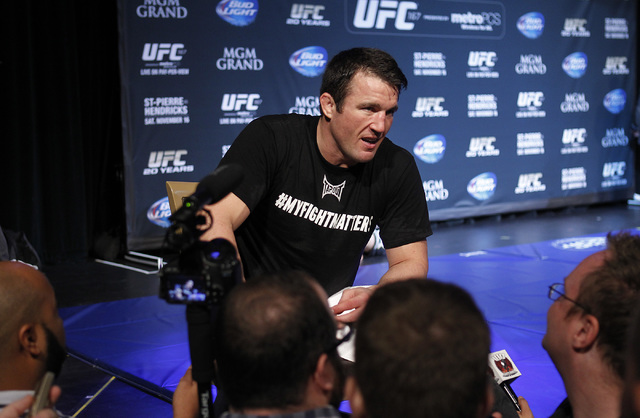 Fighter Chael Sonnen interacts with the press during a media workout session for UFC 163 in the Hollywood Theater at the MGM Grand in Las Vegas on Nov. 13, 2013. (Jason Bean /Las Vegas Review-Journal)