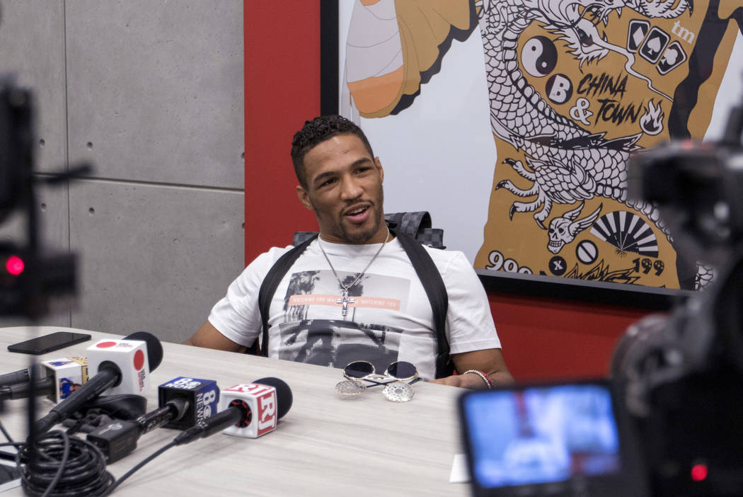 UFC lightweight Kevin Lee speaks to media during a scrum at the UFC headquarters in Las Vegas on Monday, June 19, 2017. Heidi Fang/Las Vegas Review-Journal @HeidiFang