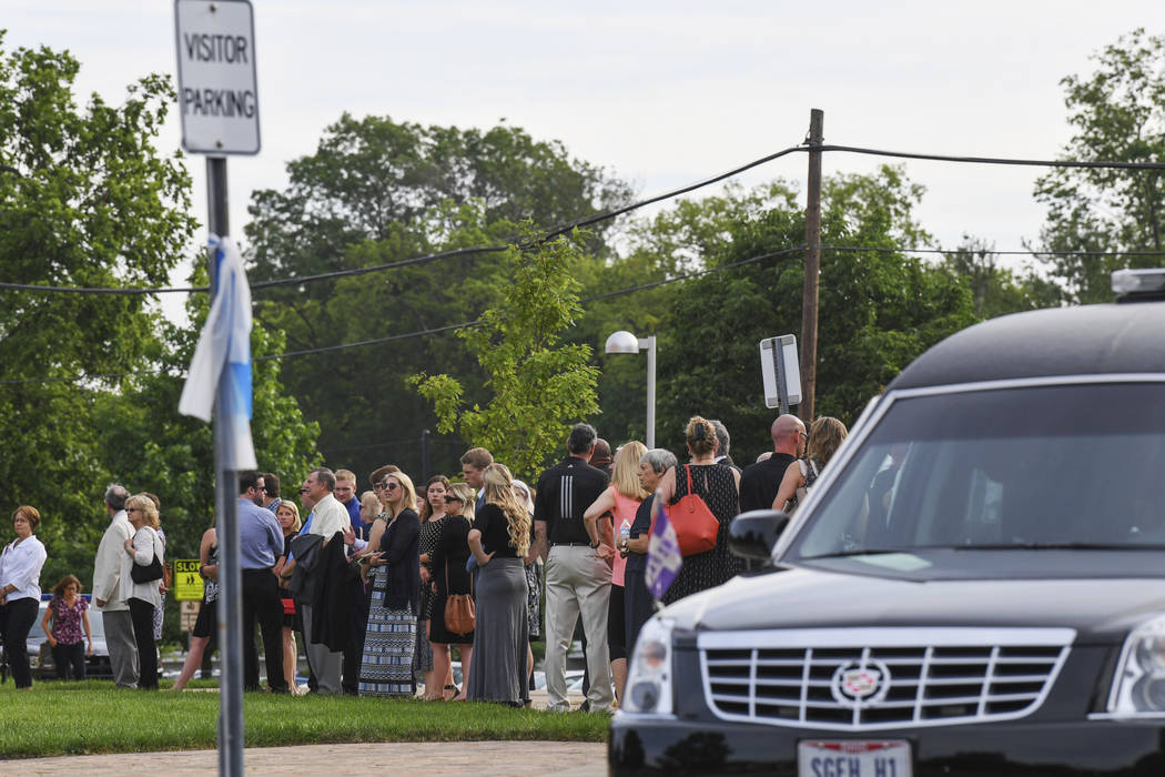 Mourners line up as they arrive for the funeral of Otto Warmbier, Thursday, June 22, 2017, in Wyoming, Ohio. Warmbier, a 22-year-old University of Virginia undergraduate student who was sentenced  ...
