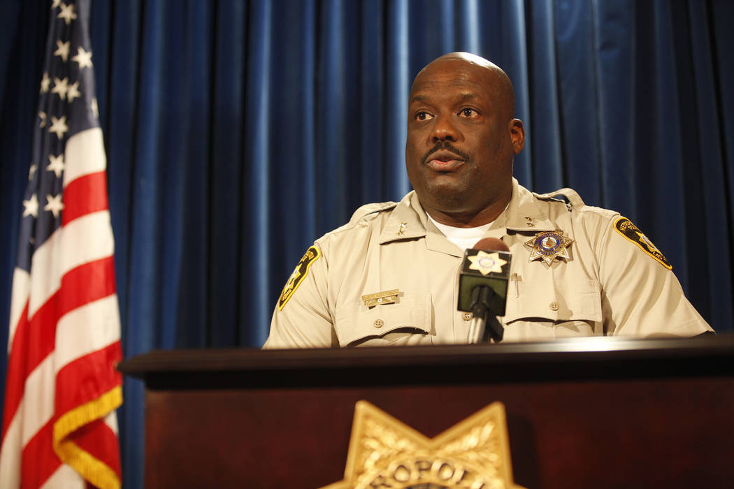 Assistant Sheriff Tim Kelly addresses the press about an officer involved shooting on Thursday, June 22, 2017, at Metropolitan Police Department headquarters in Las Vegas. Rachel Aston Las Vegas R ...